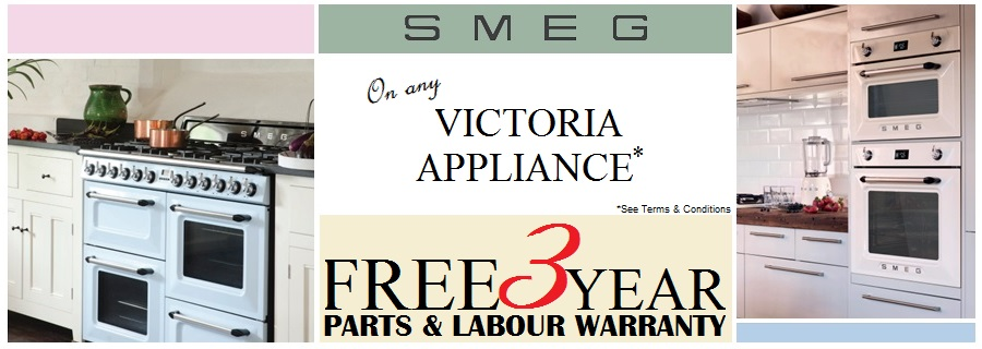 Free 3 year parts and labour warranty on smeg victoria appliances