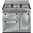 Smeg TR93BL Stainless Steel 90cm Dual Fuel Range Cooker