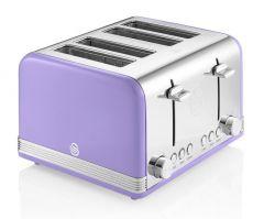 Swan ST19020PURN Purple Retro 4 Slice Toaster