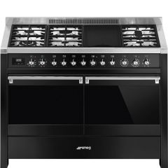 Smeg Opera A4BL-81 Black 120cm Dual Fuel Range Cooker