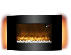 Warmlite Glasgow WL45038 Black Curved Glass Wall Mounted Fire