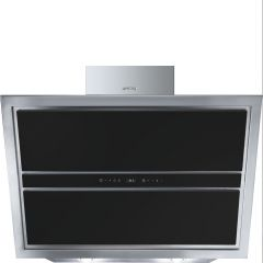 Smeg Linea KCV9NE2 90cm Black Glass Angled Chimney Hood