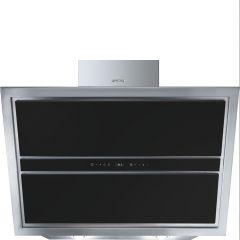 Smeg Linea KCV9NE2 90cm Black Glass Angled Chimney Hood