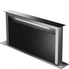 Smeg KDD90VXNE 90cm Island Downdraft Hood With Black Glass