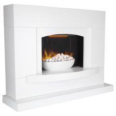 Warmlite WL45046 Oxford White Pebble Fireplace Suite