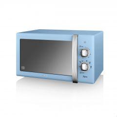 Swan SM22130BLN Blue Retro Style Manual Microwave