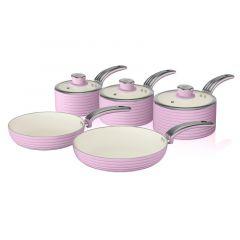Swan SWPS5020PN Pink Retro 5 Piece Pan Set