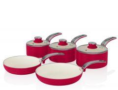 Swan SWPS5020RN Red Retro 5 Piece Pan Set