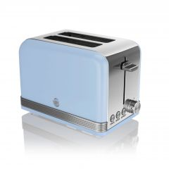 Swan ST19010BLN Blue Retro Style 2 Slice Toaster