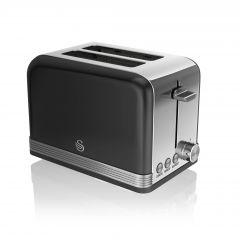 Swan ST19010BN Black Retro Style 2 Slice Toaster