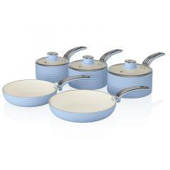 Swan SWPS5020BLN Blue Retro Style 5 Piece Pan Set