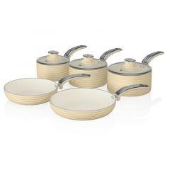 Swan SWPS5020CN Cream Retro Style 5 Piece Pan Set