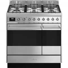 Smeg SY92PX9 Stainless Steel 90cm Dual Fuel Range Cooker