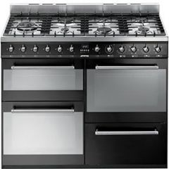 Smeg SYD4110BL Symphony Black Dual Fuel Range Cooker
