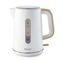Tower Scandi T10037 White Kettle With Wooden Accents