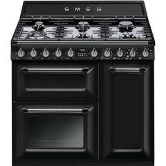 Smeg TR93BL Black 90cm Dual Fuel Range Cooker